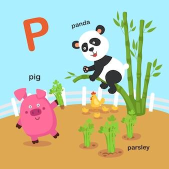 Ilustracja na białym tle litera alfabetu p.