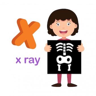 Ilustracja na białym tle litera alfabetu x rentgenowskie,