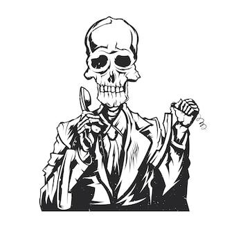 Ilustracja na białym tle martwego operatora call center