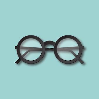 Ilustracja na białym tle okulary. widok z góry czarne okrągłe okulary hipster. materiał płaska.