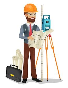 Ilustracja na białym tle postać inżyniera budownictwa.