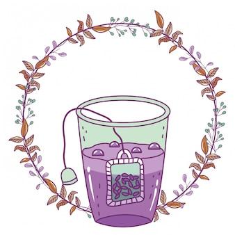 Ilustracja na białym tle szklankę herbaty