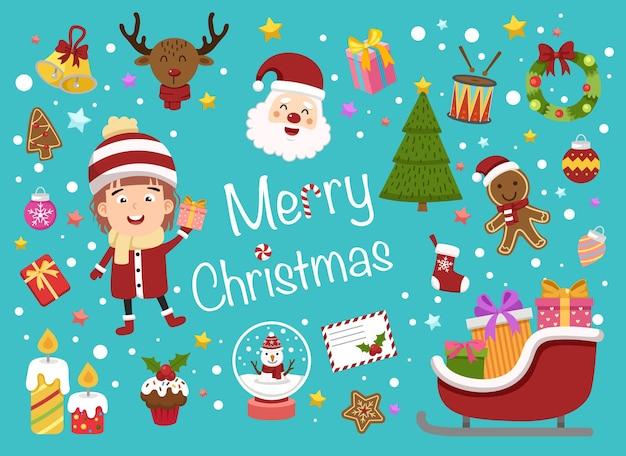 Ilustracja na białym tle wektor zestaw świąteczny