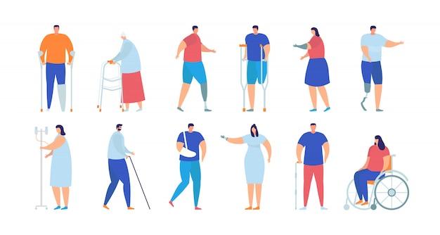 Ilustracja na białym tle zestaw kolekcja osób niepełnosprawnych, rannych i chorych.