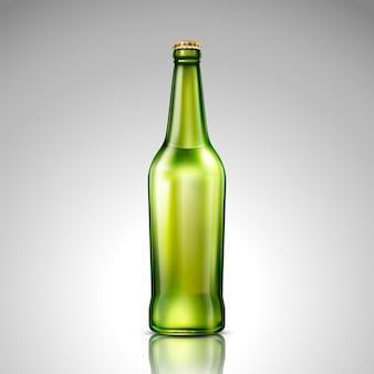 Ilustracja na białym tle zielone butelki szklane