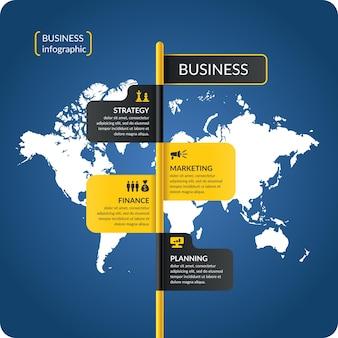 Ilustracja na biznes infografiki z mapy świata i elementów projektu na ciemnoniebieskim tle.
