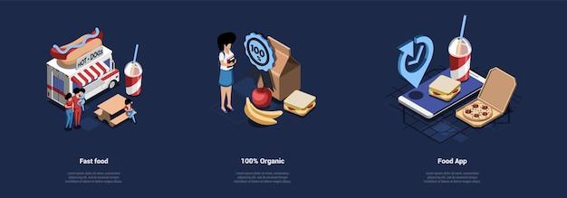 Ilustracja na ciemnoniebieskim. trzy oddzielne izometryczne kompozycje dotyczące jedzenia