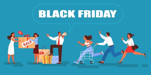 Ilustracja na czarny piątek. ludzie biegający szybko na sprzedaż. kobiety i mężczyźni na zakupach z wózkiem i torbami. biznesmen ogłasza duży rabat
