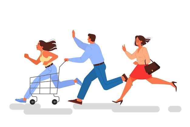 Ilustracja na czarny piątek. ludzie biegający szybko na sprzedaż.
