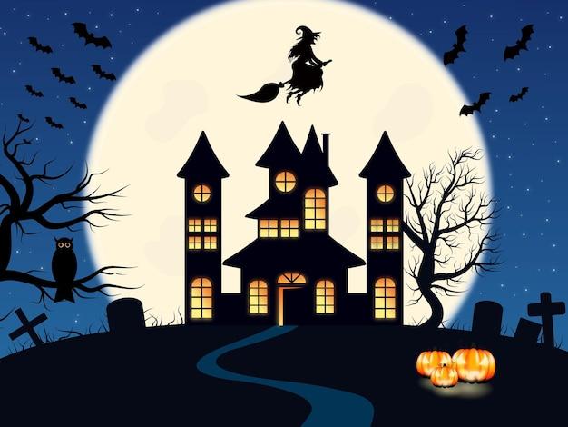 Ilustracja na halloween upiorny zamek na górze w tle