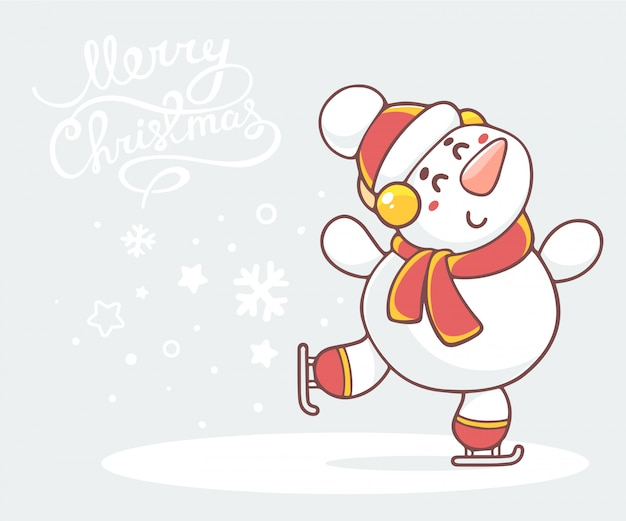 Ilustracja na łyżwach biały bałwan z czerwonym szalikiem