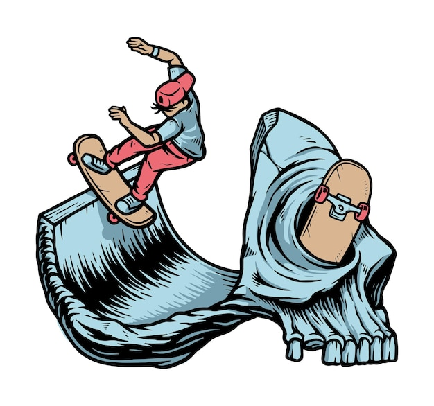 Ilustracja na łyżwach lub umrzeć