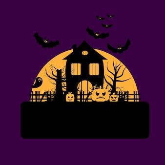 Ilustracja na obchody halloween. nawiedzony dom w pobliżu nietoperzy, dyń i duchów