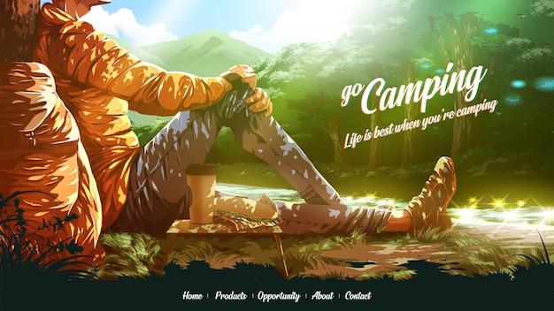 Ilustracja na stronę docelową turysty delektuje się kanapką i kawą w pobliżu cieku wodnego w parku narodowym