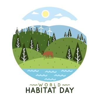 Ilustracja na światowy dzień siedlisk w płaskiej konstrukcji