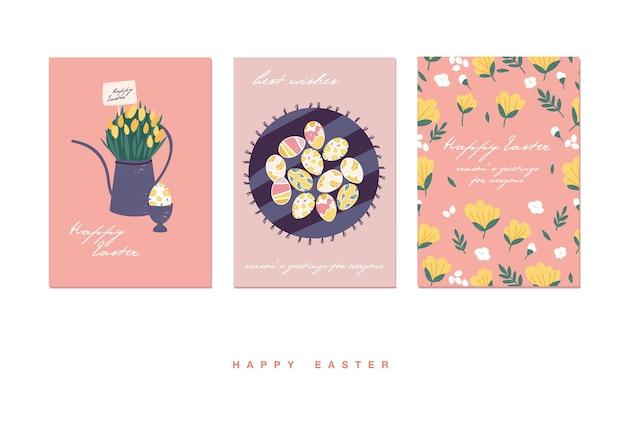 Ilustracja na święta wielkanocne. piękny bukiet kwiatów w konewce i wzór jajek, tort wielkanocny.