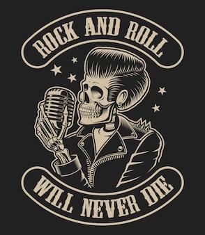 Ilustracja na temat rock roll ze szkieletem i mikrofonem na ciemnym tle.