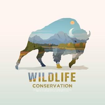 Ilustracja na tematy dzikich zwierząt ameryki, przetrwanie na wolności, polowanie, camping, wycieczka. górski krajobraz. bawół.