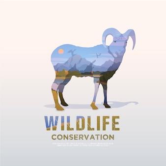 Ilustracja na tematy dzikich zwierząt ameryki, przetrwanie na wolności, polowanie, camping, wycieczka. górski krajobraz. owca.