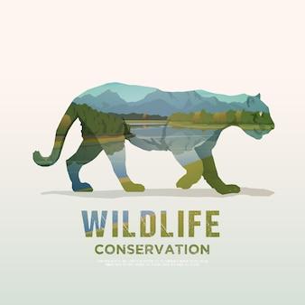 Ilustracja na tematy dzikich zwierząt ameryki, przetrwanie na wolności, polowanie, camping, wycieczka. górski krajobraz. puma.