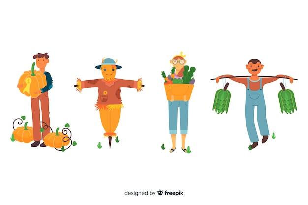 Ilustracja na wsi z pracownikami