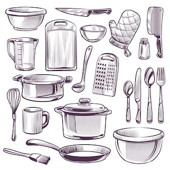 Ilustracja naczynia kuchenne