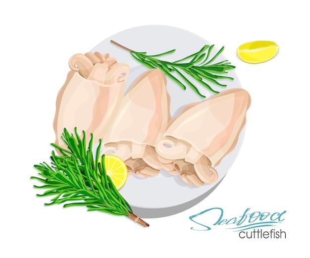 Ilustracja naczynia z mątwy z cytryną i rozmarynem na talerzu ilustracja wektorowa