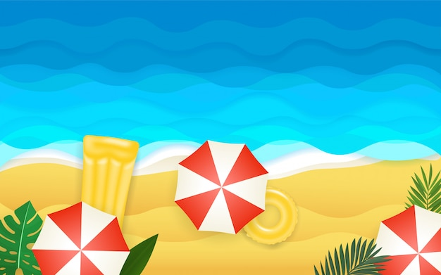Ilustracja nad morzem. tropikalna ilustracja