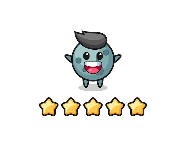 Ilustracja najlepszej oceny klienta, urocza postać asteroidy z 5 gwiazdkami, ładny styl na koszulkę, naklejkę, element logo