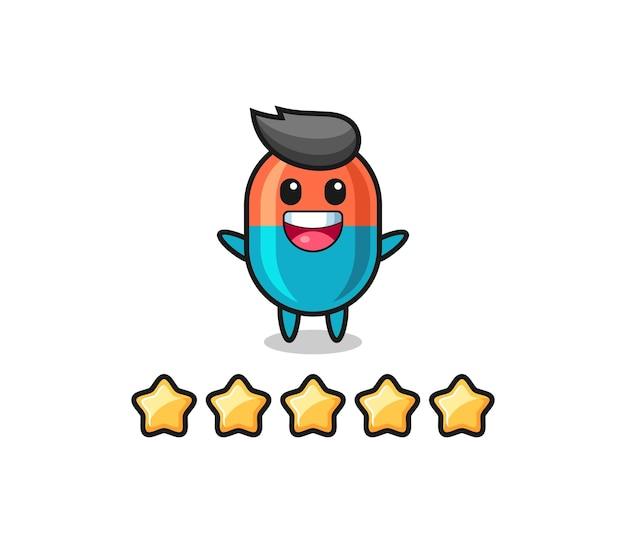 Ilustracja najlepszej oceny klienta, urocza postać kapsułki z 5 gwiazdkami, ładny styl na koszulkę, naklejkę, element logo