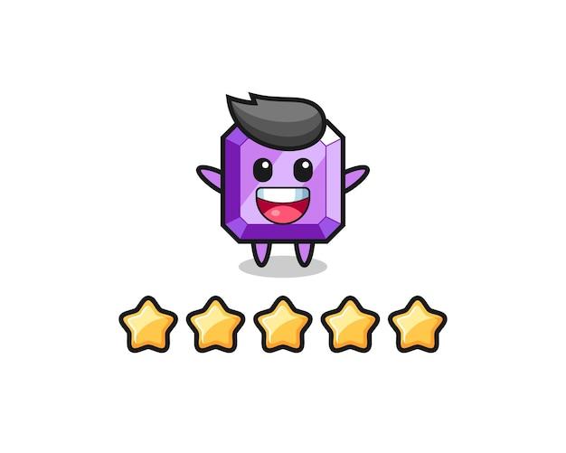 Ilustracja najlepszej oceny klienta, urocza postać z fioletowym kamieniem szlachetnym z 5 gwiazdkami, ładny styl na koszulkę, naklejkę, element logo