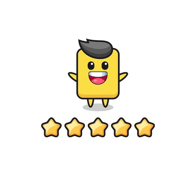 Ilustracja najlepszej oceny klienta, żółta kartka urocza postać z 5 gwiazdkami, ładny styl na koszulkę, naklejkę, element logo