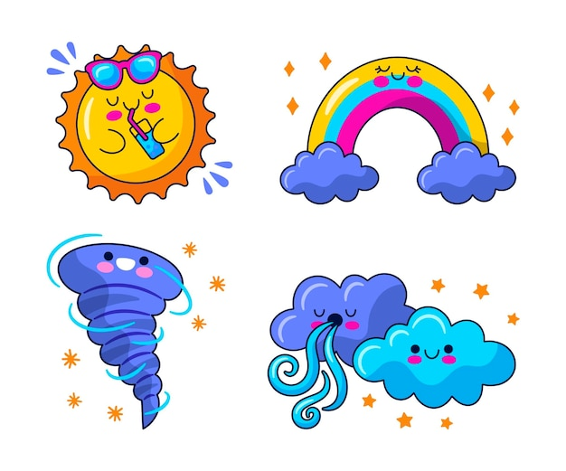 Ilustracja naklejek pogodowych kawaii