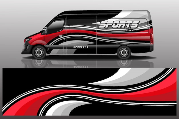 Ilustracja naklejek samochodów dostawczych van
