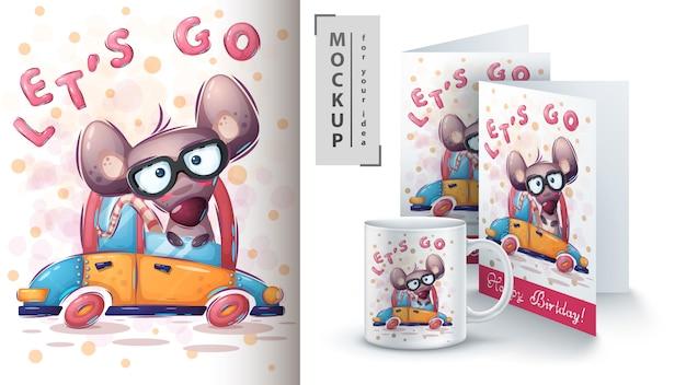 Ilustracja napędu myszy i merchandising