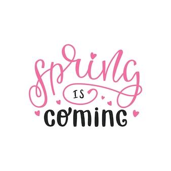 Ilustracja, napis na wiosnę