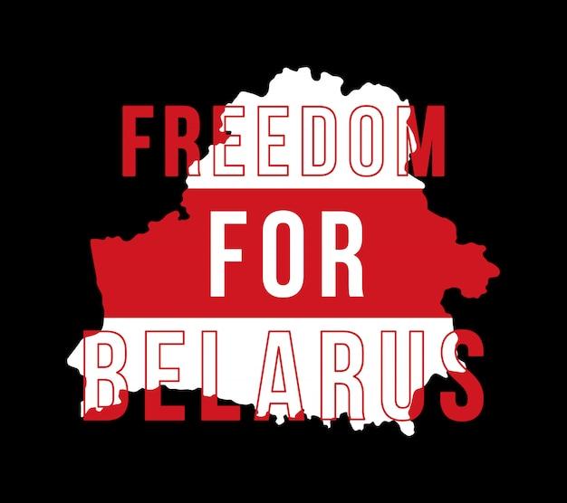 Ilustracja napis wolność dla białorusi na tle mapy z flagą. symbol wolności białoruś. barwy narodowe białorusi