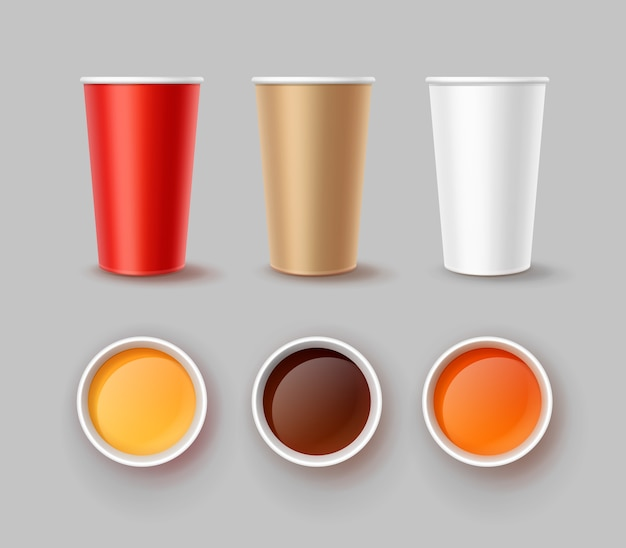 Ilustracja napojów na wynos w restauracji typu fast food. trzy kubki papierowe w kolorach czerwonym, brązowym i białym, widok z przodu i widok z góry z płynem