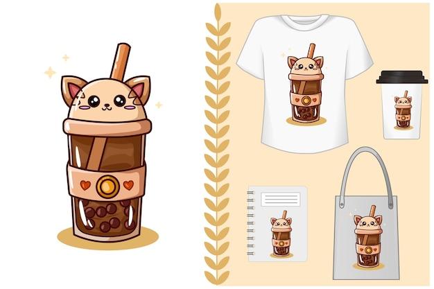 Ilustracja napoju bezalkoholowego w kształcie kota