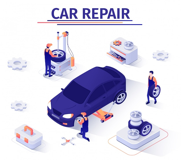 Ilustracja naprawy samochodu, oferta wymiany koła w serwisie samochodowym