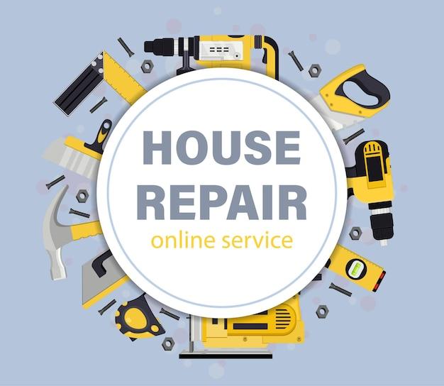 Ilustracja narzędzia naprawy domu domu. serwis internetowy.