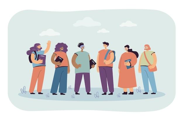 Ilustracja nastoletnich przyjaciół szkoły