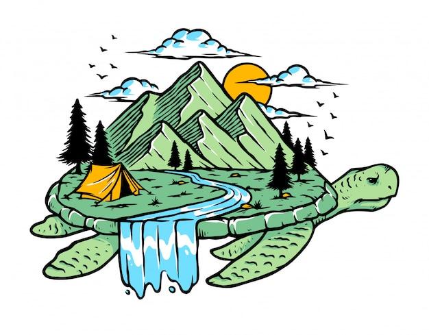 Ilustracja Natura żółw Premium Wektorów