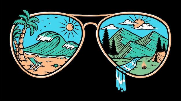 Ilustracja naturalne okulary