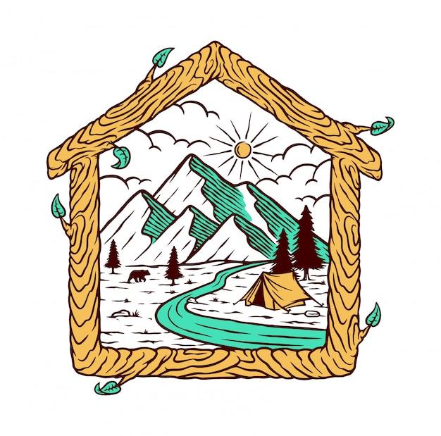 Ilustracja naturalny dom