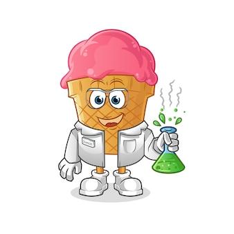 Ilustracja naukowiec lody
