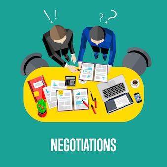 Ilustracja negocjacji. widok z góry biznesowego obszaru roboczego
