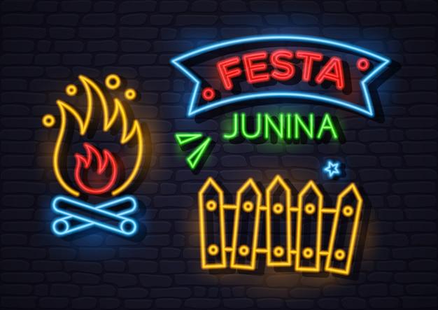 Ilustracja neon festa junina