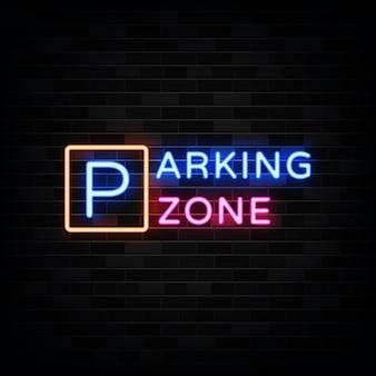 Ilustracja neon znak strefy parkingowej