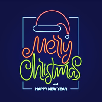 Ilustracja: neonowe napisy wesołych świąt i szczęśliwego nowego roku z czapką świętego mikołaja w ramce